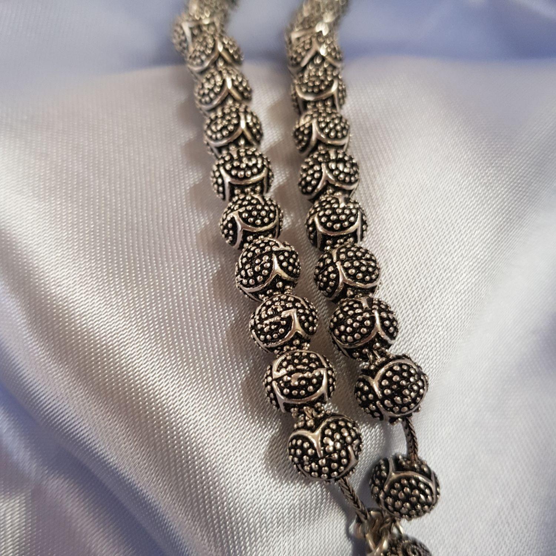 Nevinci Nevinci Küre  Kesim  Oksitli Gümüş Tespih Fotoğrafı