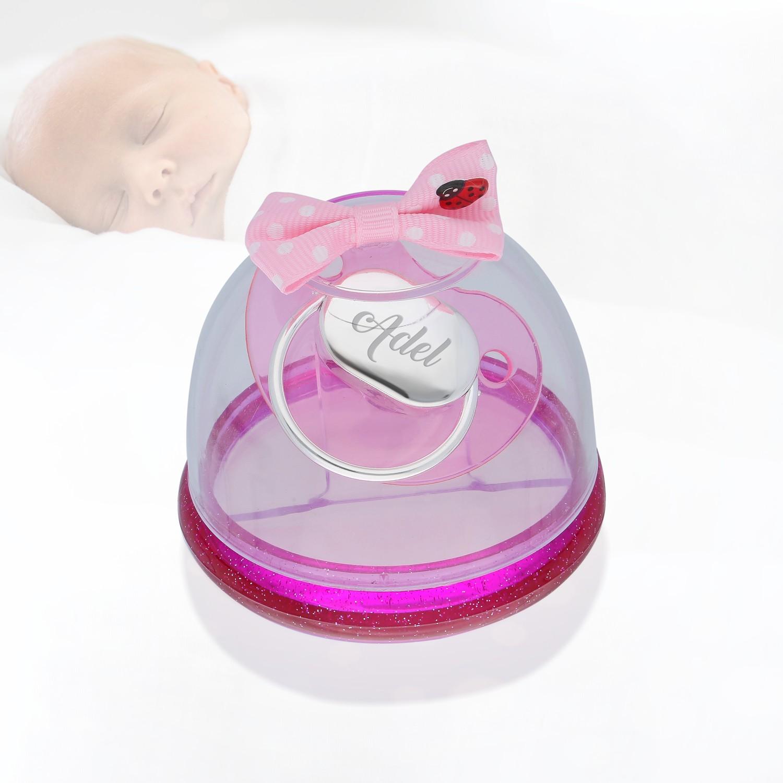 Nevinci Kişiye Özel Gümüş Pembe Bebek Emziği Fotoğrafı